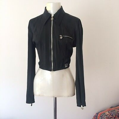 Versace Jeans Couture Vintage Cropped Black Jacket, Size