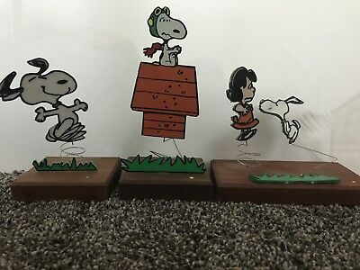 Vintage 1972 Sparkies Peanuts Trophies on Teakwood by Aviva