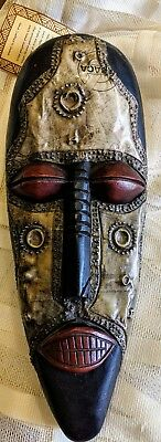 Hand Carved African Ethnic Folk Art Wood , metal, Sculpture Face Tribal Mask