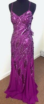 New Sample w/ Tags Formal or Pageant Gown Purple Size 8 Sequin by Faviana