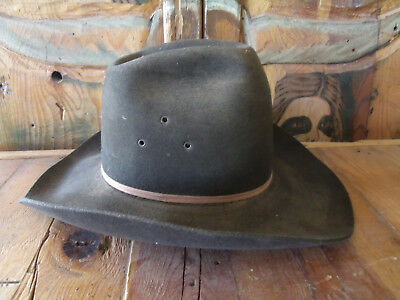 """Vintage Cowboy Hat """"The Alamo"""" Old Dusty Chocolate Brown  7 1/2 LO"""