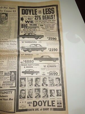 1967 Doyle Dodge Chrysler Plymouth Rochester NY Print Ad 1967 Barracuda Imperial