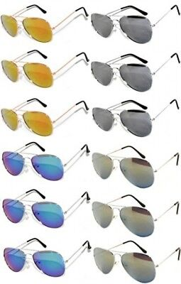 Wholesale Aviator Silver Metal Frame Sunglasses Mirrored Lens Blue 12 Pairs OWL