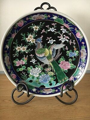 Vintage Chinese Famille Bird Of Paradise Plate Signed.