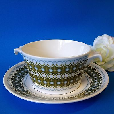 Royal Tuscan, England - Cadenza Handled Soup Bowl & Saucer - Fine Bone China