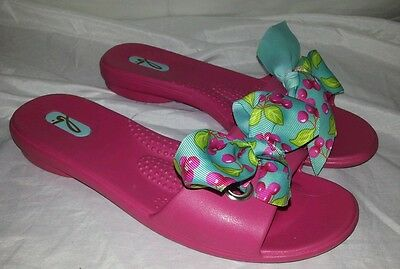 c8b35ccbb531 Women s Pink Oka B Sandals Slides with Blue and Cherries Ribbon Size Small