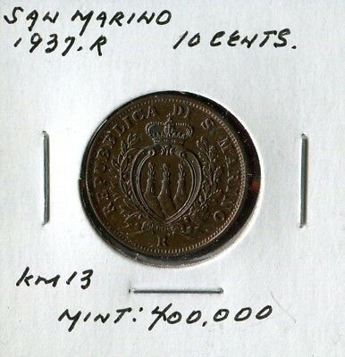 ** San Marino 1937.r , 10 Cents ......low Minted 4Oo K.**