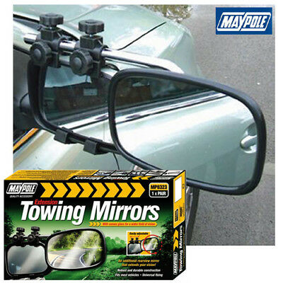 Pair of Maypole 8327 Universal Convex Glass Deluxe Car Caravan Towing Mirror New