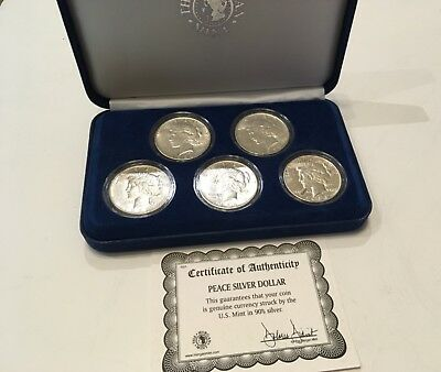 Peace Silver Dollar Set of 5 in Box with COA