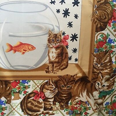 Vintage Cute Cats & Kittens & Gold Fish Large Silk Scarf