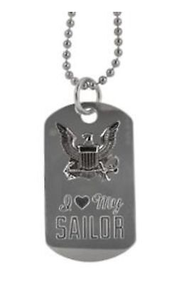 U.S. Navy I Love My Sailor Engravable Small Dog Tag Necklace / Keychain Combo