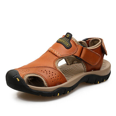 Mens Big Size Hiking Genuine Leather Sandals Closed Toe Fisherman Beach Shoe UK