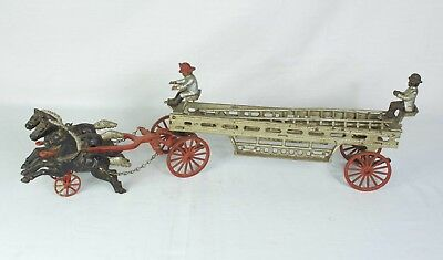 Vintage Cast Iron Horse Drawn Fire Ladder Wagon .99 NO RESERVE