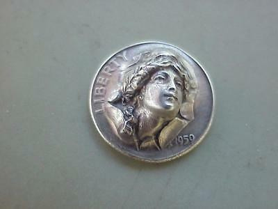 1959 SILVER Dime Coin POP OUT REPOUSSE LADY LIBERTY HEAD BURSTING OUT !!!!!