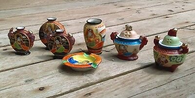 Antique Miniature Japanese Satsuma Moriage Vases & Ash Tray  LOT OF 7
