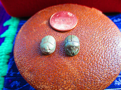 Ancient Egyptian Scarob Amulet Pair Authentic Antiquity