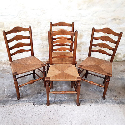 Georgian C18th Set of 4 Elm Country Ladderback Dining Chairs (George III)