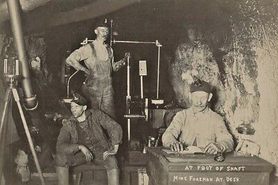 """1890's Original Photo """"At Foot Of Shaft"""" MINING WORKERS With FOREMAN East PA"""