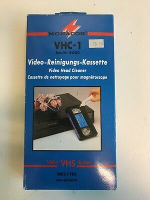 Monacor Reinigungs Cassette Video Head Cleaner VHS Wet Type NOS