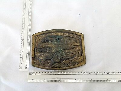 Vintage Brass belt buckle Old Chevy van