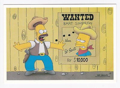 SIMPSONS carte postale   POSTCARD  WANTED BART SIMPSON
