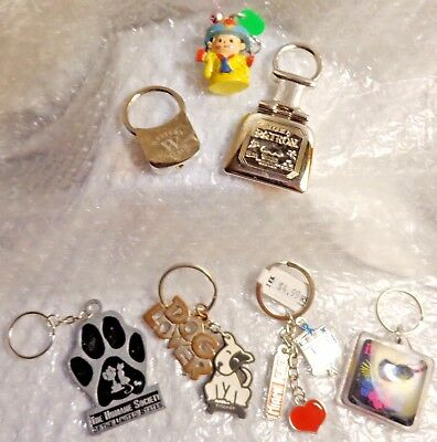 LOT of 7 ASSORTED KEYCHAINS HANDPAINTED BAHAMAS TEQUILA MIAMI BEACH VTG ASPCA