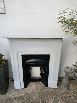 Elegant Original Victorian Cast Iron Fireplace Complete with Mantle (Dove Grey)