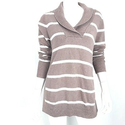 Old Navy Maternity Women's Large Sweater Brown and white striped long sleeve