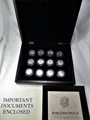 Collection of (12) Pope John Paul II 1000 Lire Silver Coins in Wooden Box | 0322