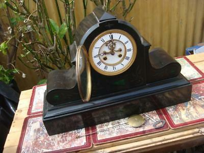 French mantle Clock With Key & Pendulum For Restoration Or Spare repair