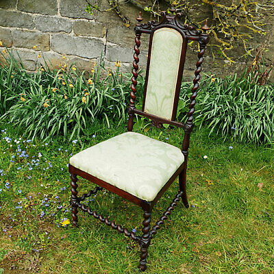C19th Victorian Carolean Revival Carved Rosewood Bedroom Chair
