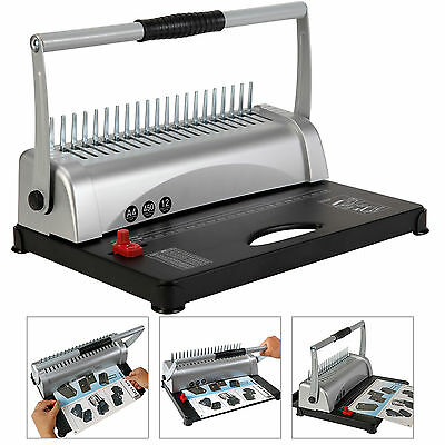Paper Punch Binding Machine Dual handle Comb 450 Sheet 21 Hole W/200 Free Combs