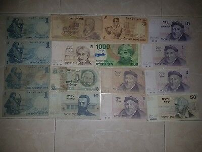 israel COLLECTION LOT 16 pcs (vf, vg , poor) 1958 1968 1978 1973 1983 banknote