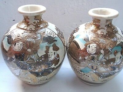 PAIR of Antique Meiji Period Japanese Satsuma Vases - 19th/20th Century - 13cm