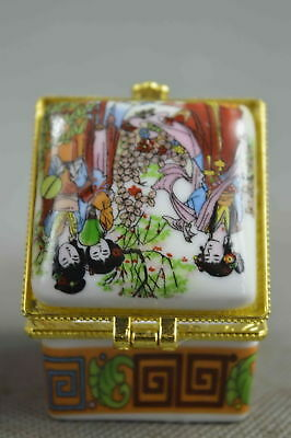 Collectable Handwork Porcelain Paint Classical Belle & Scenery Lucky Jewelry Box