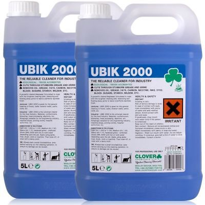Ubik 2000 2x5Ltr Heavy Duty Universal Cleaner Concentrate Degreaser Clover Ubik