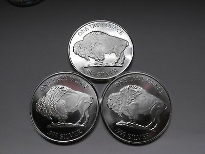Lot Of 3 - 1 Oz 999 Fine Silver Buffalo  Bullion Rounds By Rmc - Special Price!!