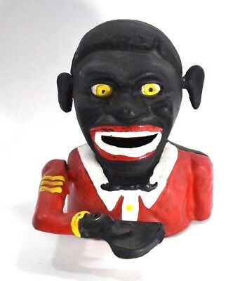 Cast Iron Americana Jolly Negro Mechanical Coin Bank reproduction Rolling Eyes