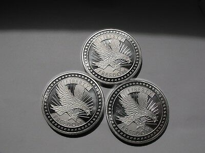 🔥lot Of 3 - 1 Oz 999+ Fine Silver Rounds By A-Mark - Sd Bullion Freedom Rounds!