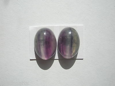 Natural AA+ Rainbow Fluorite Gemstone Oval Cabochons - 14x10mm - pair