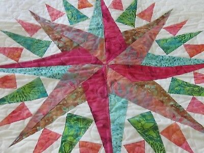 """Very Nice New Batiked Compass Quilt Table-topper 24"""""""