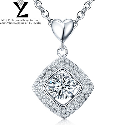 "Sterling Sliver Dancing Cubic Zirconia Are Deco Pendant 18"" Chain Necklace YL"