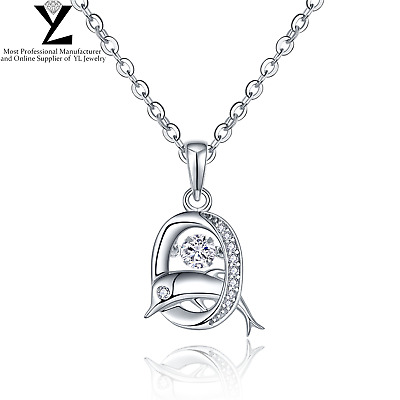 "Sterling Sliver Dancing Cubic Zirconia Dolphin Pendant 18"" Chain Necklace YL"