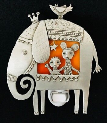 """Leandra Drumm Pewter and Stained Glass """"Elephant/Circus"""" Night Light"""