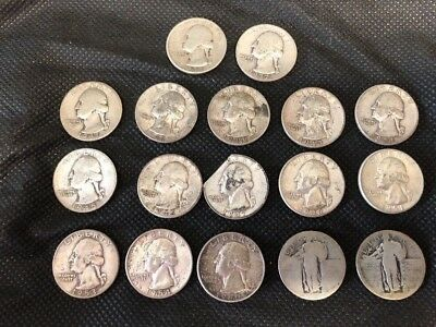 Lot of Silver Quarters, 16 plus 1 that has been cut (see pictures)