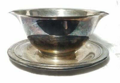 International Silver Co. Silverplate Gravy Bowl with attached Underplate