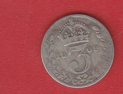 Great Britain 3 Pence 1909 Silver