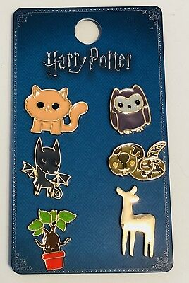 PRIMARK HARRY POTTER CREATURE EMOJI 6 METAL PIN BADGE SET - Brand New