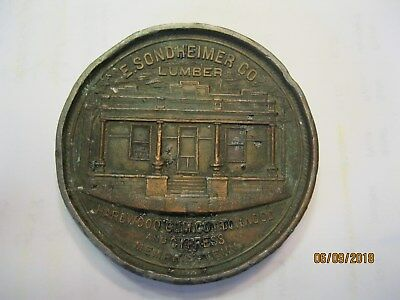 Vintage Large Two Sided Advertising Coin/paperweight E. Sondheimer Lumber Co .