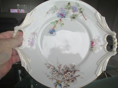 Beautiful Old Serving Plate With Handles - Floral Detail, Little Bird & Gold